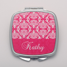 Fuchsia Damask Personalized Square Compact Mirror
