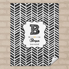 Herringbone Personalized Name Poster Print Small 8.5