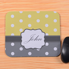 Create Your Own Lemon & Grey Polka Dot Personalized Mouse Pad