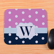 Create Your Own Navy & Pink Polka Dot Personalized Mouse Pad