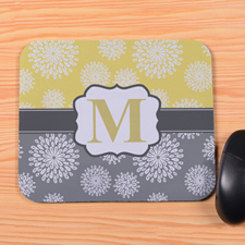 Create Your Own Lemon & Grey Floral Personalized Mouse Pad