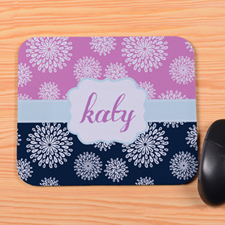 Create Your Own Navy & Pink Floral Personalized Mouse Pad