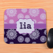 Create Your Own Purple & Plum Floral Personalized Mouse Pad