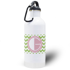 Lime Chevron Personalized Water Bottle