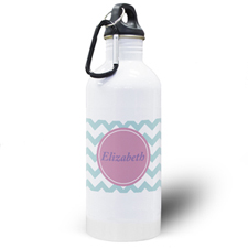 Aqua Chevron Personalized Water Bottle
