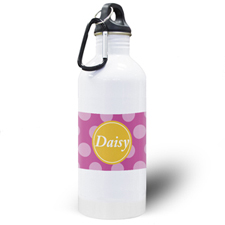 Fuchsia Dots Personalized Water Bottle