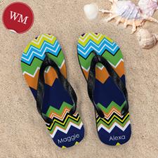 Rainbow Chevron Personalized Flip Flops, Women Medium