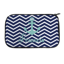 Navy Chevron Anchor Personalized Neoprene Cosmetic Bag