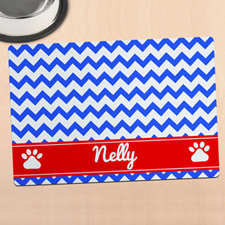 Blue Chevron Personalized Pet Meal Mat