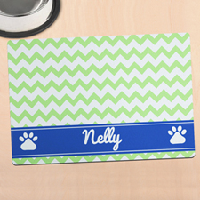 Green Chevron Personalized Pet Meal Mat