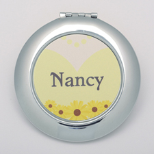 Yellow Floral Wedding Personalized Round Compact Mirror