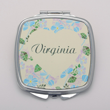 Pastel Blue Floral Personalized Square Compact Mirror