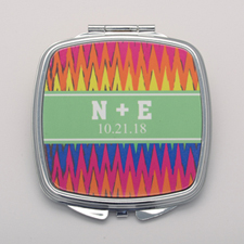 Colorful Zig Zag Personalized Square Compact Mirror