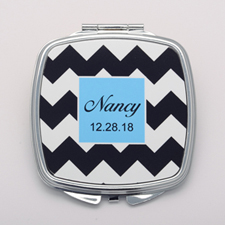 Black & White Chevron Personalized Round Compact Mirror