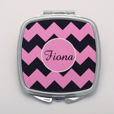 Black Pink Chevron Personalized Mirror