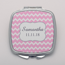 Pink Chevron Personalized Mirror