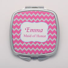 Pink Grey Chevron Personalized Mirror