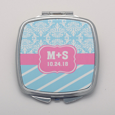 Aqua Vintage Stripe Personalized Square Compact Mirror