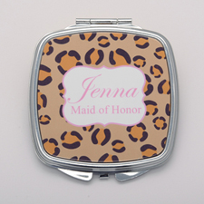 Leopard Print Pink Personalized Mirror