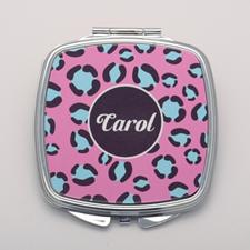 Aqua Pink Leopard Print Personalized Mirror