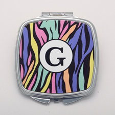 Colorful Zebra Print Personalized Square Compact Mirror