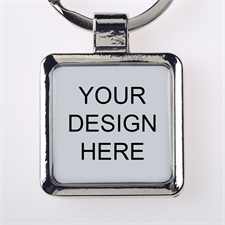 Custom Imprint Metal Square Keychain (Small)