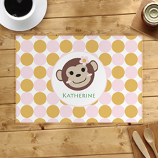 Monkey Girl Personalized Placemat