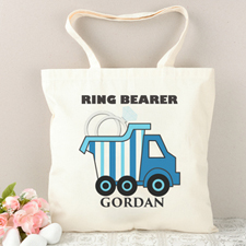 Ring Bearer Blue Stripe Truck Personalized Tote Bag