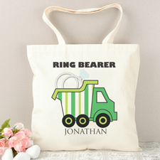Ring Bearer Green Stripe Truck Personalized Tote Bag