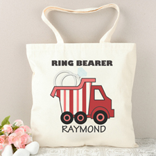 Ring Bearer Red Stripe Truck Personalized Tote Bag