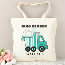 Ring Bearer Peacock Stripe Truck Personalized Tote Bag