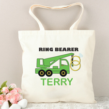 Ring Bearer Green Truck Personalized Tote Bag