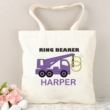 Ring Bearer Purple Truck Personalized Tote Bag