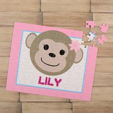 Monkey Girl Personalized Kids Puzzle