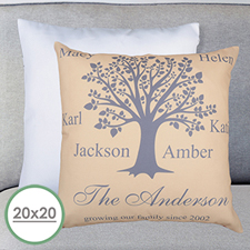 Beige Family Tree Personalized Large Pillow Cushion Cover 20