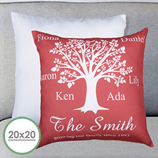 Burgundy Family Tree Personalized Large Pillow Cushion Cover 20