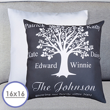 Black Family Tree Personalized Large Cushion 18