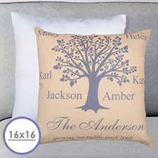 Beige Family Tree Personalized Large Cushion 18