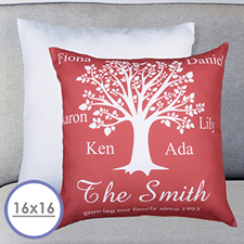 Burgundy Family Tree Personalized Large Cushion 18