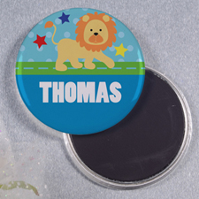 Lion Star Personalized Round Button Magnet