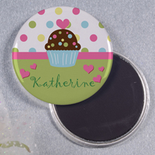 Birthday Cupcake Personalized Round Button Magnet