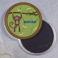 Monkey Personalized Round Button Magnet