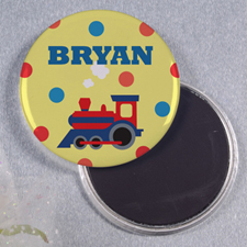 Train Personalized Round Button Magnet
