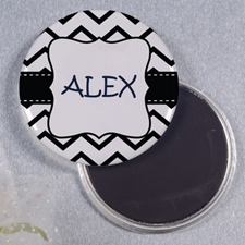 Black White Chevron Personalized Round Button Magnet