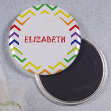 Rainbow Chevron Personalized Round Button Magnet