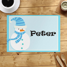 Light Blue Snowman Personalized Placemat