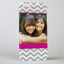 Plum Grey Chevron Personalized Photo iPhone 6+ Case