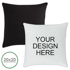 20 X 20 Custom Design Pillow (Black Back)  Cushion (No Insert)