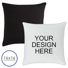 16 X 16 Custom Design Pillow (Black Back)  Cushion (No Insert)