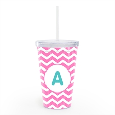 Pink Chevron Personalized Insulated Tumbler
